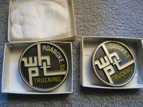 W.H.P.T. truck driving belt buckles ROANOKE VA 1980s brass enameled BUYING 2 NOS