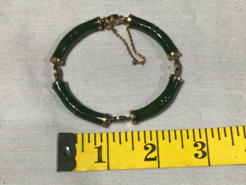 Vintage Dark Green JADE & SILVER BRACELET Chinese Oriental design BEAUTIFUL