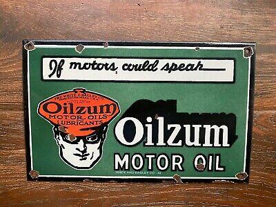 "Vintage ""Oilzum Motor Oil"" Porcelain Enamel Sign 16""x10"""