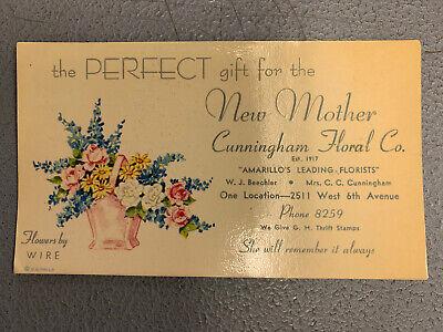 Vintage Cunningham Floral Co Amarillo Texas Florist Advertising Ink Blotter
