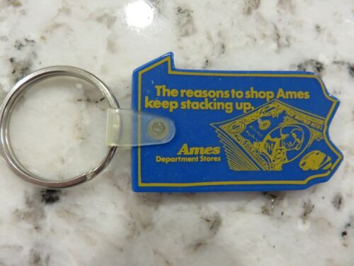 RARE Ames Department Store Vintage Advertising Keychain Pennsylvania State Shape