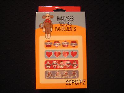 Monkey Band Aid - SOCK MONKEY - Bandages - 20 Count -