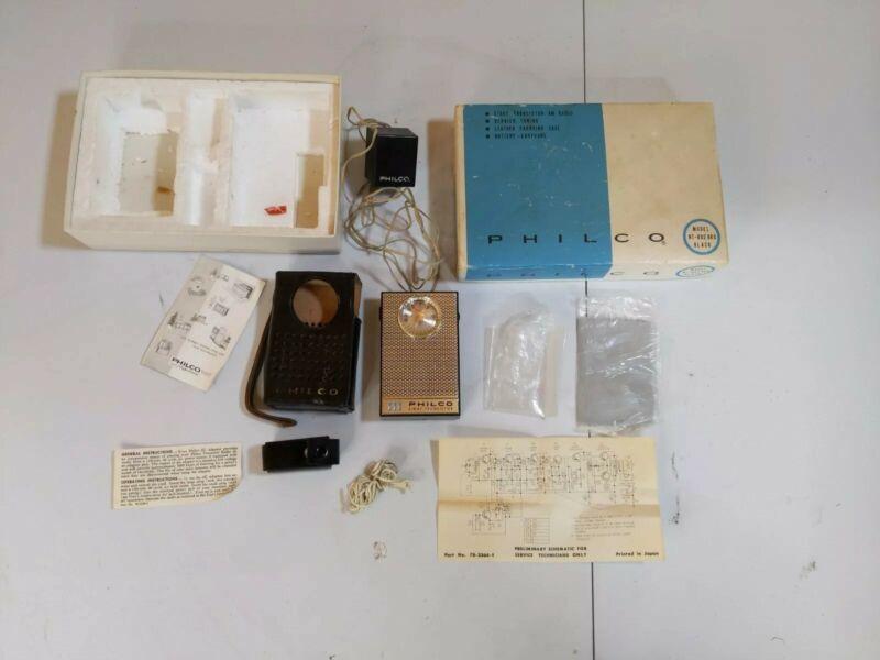 Philco NT-802 BKG Black 8 Transistor AM Radio Leather Carrying Case Original Box