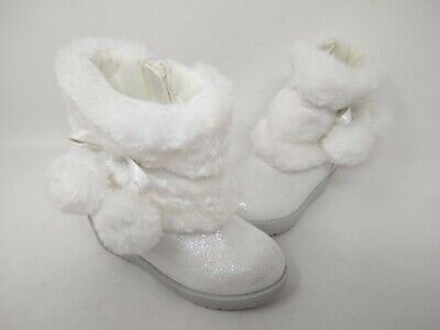 NEW! Cherokee Toddler Girl's Faux Furry Zip Up Booties Snowy White #1773 201Q cc