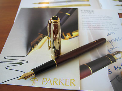 Parker Sonnet Deco cap and lacquer barrel 18kt Au Medium nib Fountain pen Mint