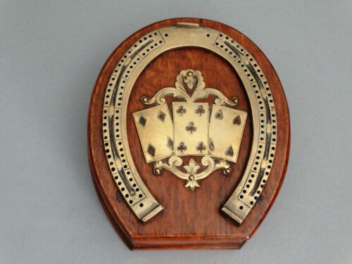 Antique English Equestrian Horseshoe Cribbage Game Oak & Brass