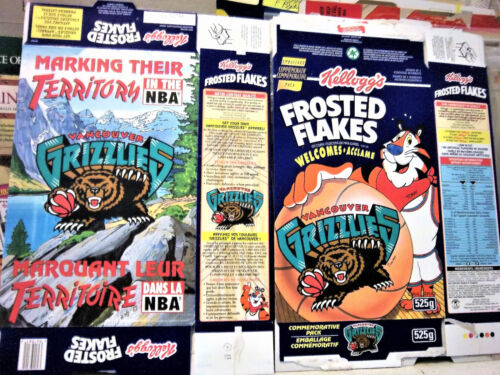 Vintage 1994 Frosted Flakers Vancouver GRIZZLIES Cereal Box  shm615