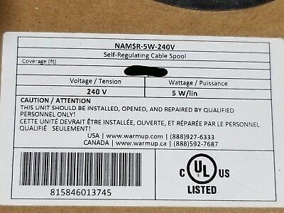 Warmup Namsr-5w-240v Self-regulating Pipe Heating Cable 5 Wattsft 240v 10ft