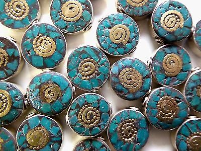 Vintage Silver Tibetan Nepal Handmade Turquoise Inlay Brass  Beads 2 Pieces