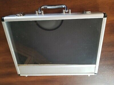 Glass Top Metal Display Case--carrying Handle--2 Closure Claps--15 X 11 X 2