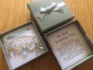 WEDDING, BRIDE kilt pin, horseshoe, chimney sweep, CHARM, GIFT, PERSONALISED