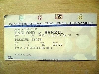 Tickets/ Stubs- 1995 International Challenge Tournament ENGLAND v BRAZIL, 11 Jun