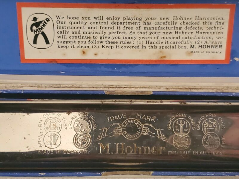 Vintage Original Hohner Germany U.S. Marine Band Harmonica No. 1896 w Box Key G