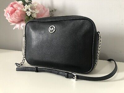 AUTHENTIC *MICHAEL KORS FULTON* BLACK LEATHER CROSS BODY/SHOULDER BAG RRP£240 👜