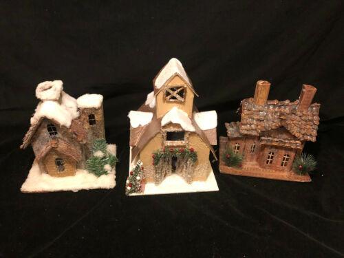 """3 Glitter Putz Cardboard Village Houses 10.5"""" LED Light"""