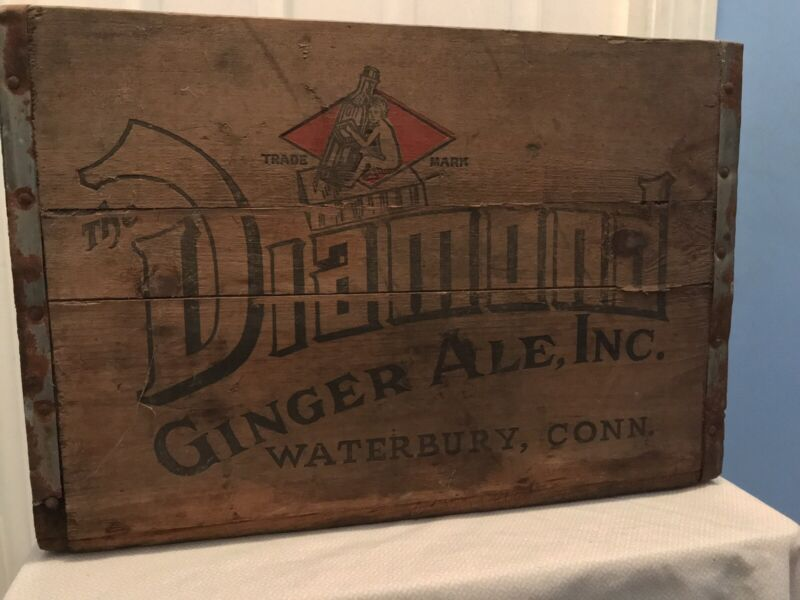 Antique Vintage Diamond Ginger Ale Sods Waterbury Conn Advertising Box Crate