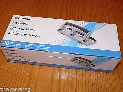 Nib Officemax Medium Duty 3-hole Paper Punch 20-sheet. Paper Guide Chip Drawer