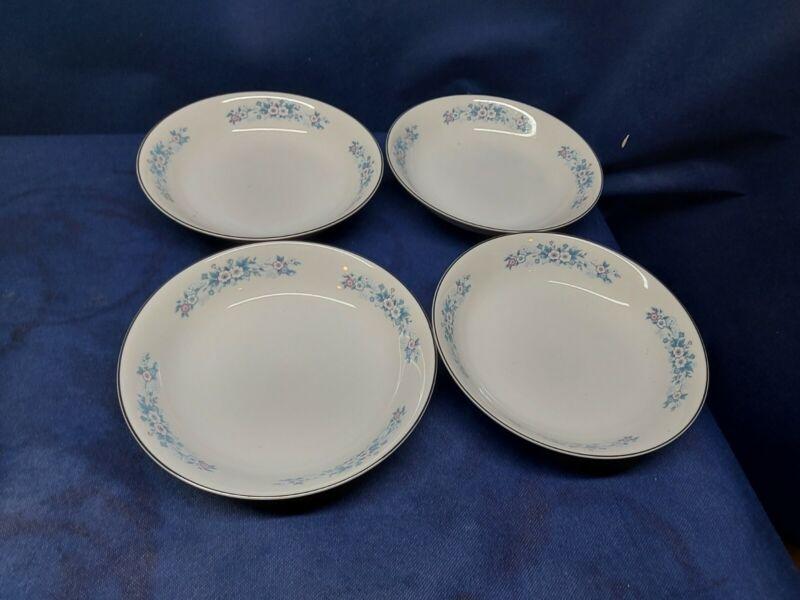 Vintage Carlton China Carla Set/4 Soup/Salad Bowls #506 Japan Blue Floral Design