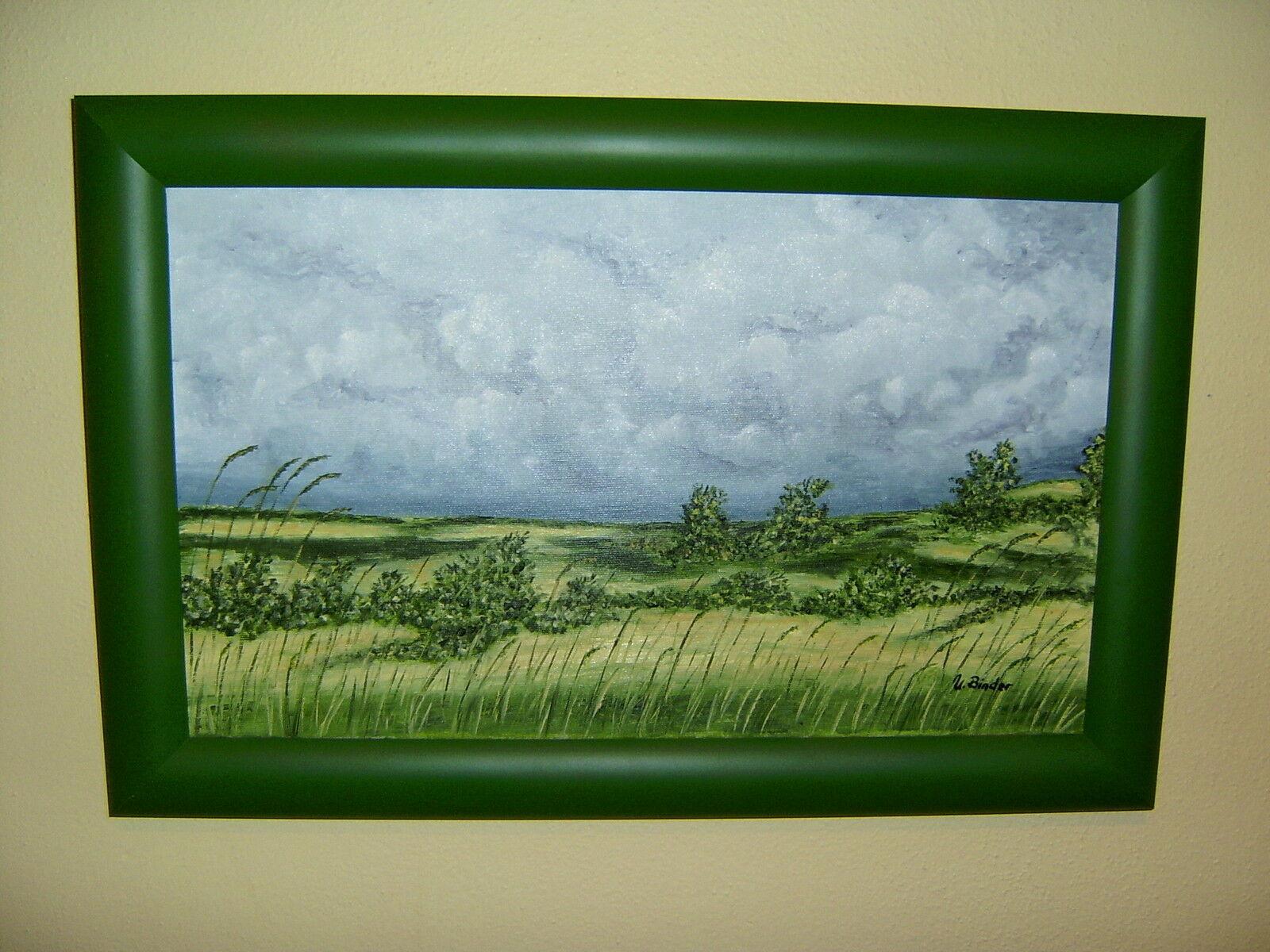 original lgem lde heide landschaft wolken mit rahmen bild. Black Bedroom Furniture Sets. Home Design Ideas