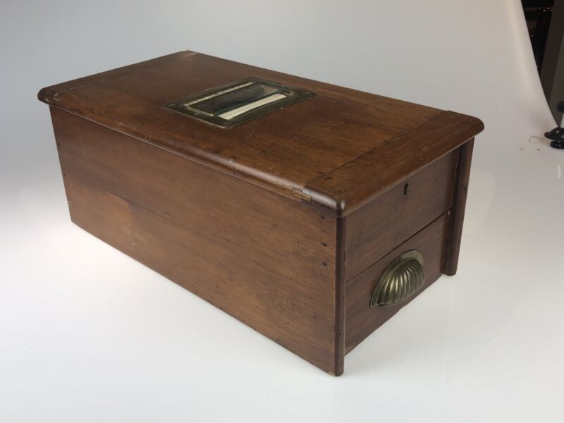 Antique C. 1900s English Cash Box With Paper Roll