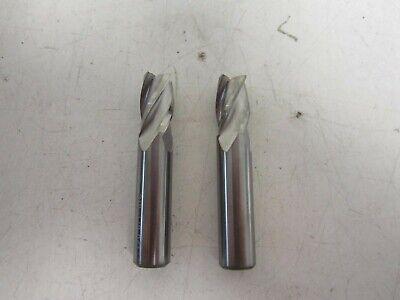 Lot Of 2 Carbide 4 Flute Center Cutting Stub 38 X 38 X 12 X 2 End Mill