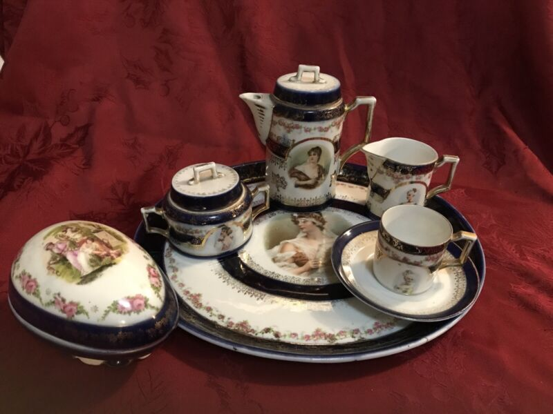 Antique Porcelain Portrait Tea Set Cobalt Blue Ladies Plus Trinket Box
