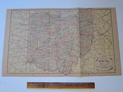 Original Antique Atlas Map 1892 Ohio and Illinois, Oversize