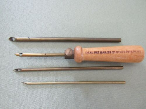 Antique IDEAL Rug & Embroidery Punch Needle Set Made in USA Patent Date 1921