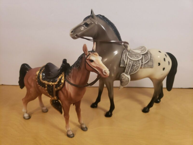 Vintage Hard Plastic Horses Made In Hong Kong Lot of 2