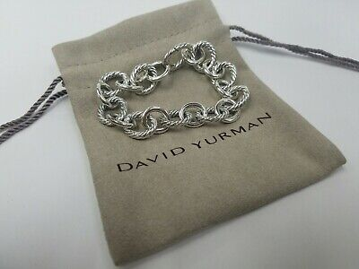 David Yurman Sterling Silver 12mm Large Oval Cable Link Chain Bracelet 7