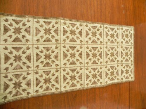 "Antique Lefkara Hand Embroidered Table Runner  30"" x 14""        #10c"