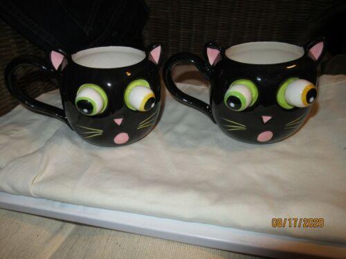 Halloween Black Cat Bobble Eye Mugs - 2