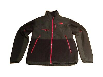 The North Face Mens LARGE Denali Black/red Polartec Fleece Jacket Full Zip Rare!