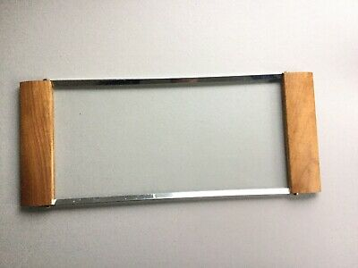 Vintage MCM Serving Tray Wood Glass Metal Cheese Cracker Serving Dish Entertain