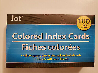 Four Colored - Ruled Index Cards 100 Count