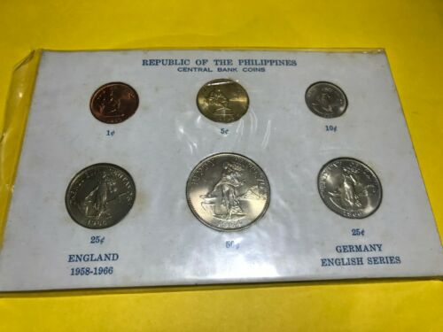 PHILIPPINES ENGLISH SERIES COIN SET, 1c - 50c IN CARD, ALL BRILLIANT UNC