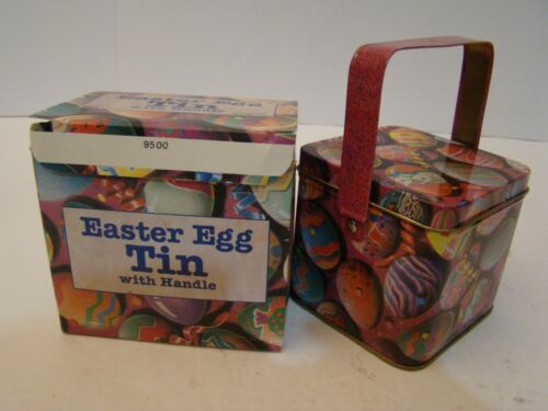 Easter Egg Tin With Handle Collectable Box Complete