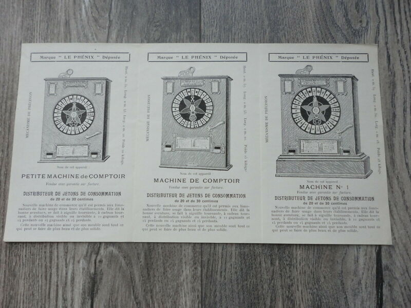 3 Very Old Slot Machines Flyer Original French Brochure