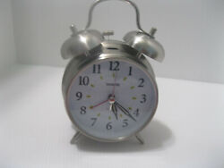 Sharp Analog Twin Bell Alarm Clock Quartz Silver Old Fashioned Batery Operated