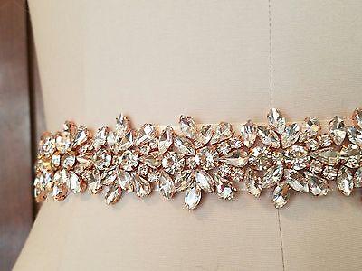 Wedding Bridal Sash Belt, Light ROSE GOLD Crystal Sash Belt = 22 inch long
