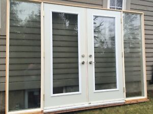 Double garden door with sidelights