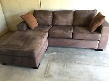 3 Seater L-shaped Sofa Modular Corner Couch - brown suede Port Melbourne Port Phillip Preview