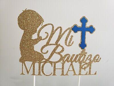 Mi Bautizo personalized cake topper, centerpiece, party decoration, Baptism boy - Baptism Centerpieces Boy