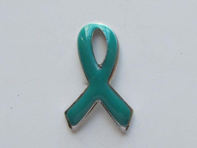 24 Enamel Teal Ribbon Awareness Pins Ovarian Cervical Cancer Sh