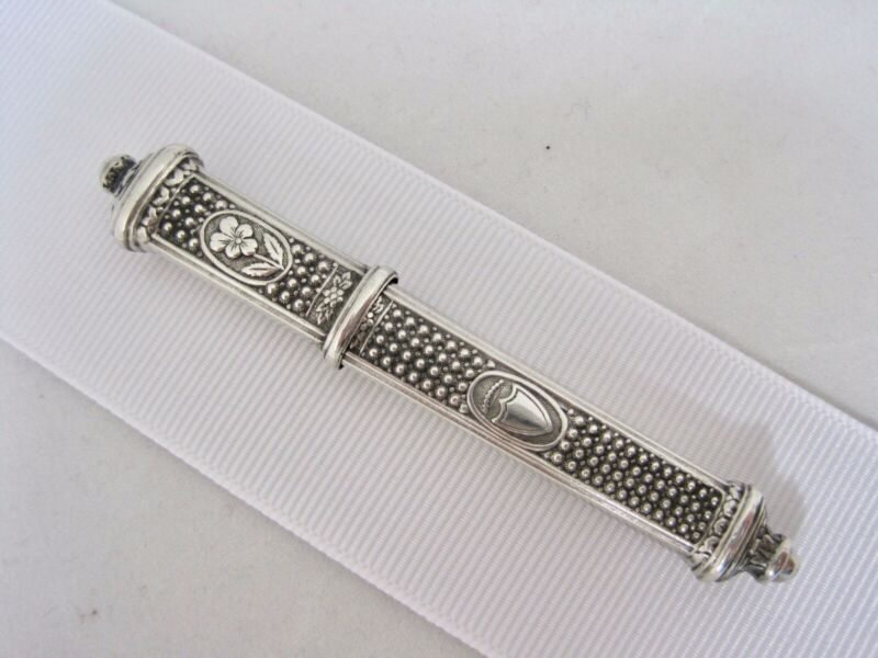 Needle Case Palais Royal French .800 sterling 1819-1837 pansy & shield