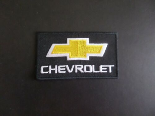 """CHEVROLET"""" BLACK & YELLOW EMBROIDERED IRON ON PATCHES 2-1/8 X 3-3/4"""