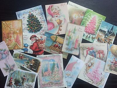 BB07C -- Lot of 17 Vintage PINK CHRISTMAS CARDS DIE CUTS for Card Making Crafts