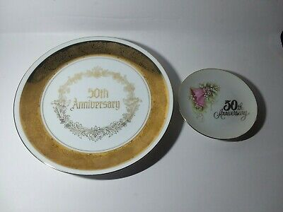 🔥50TH Anniversary Wishes Decorative Plate Set ENESCO JAPAN Bells 1983 Vintage