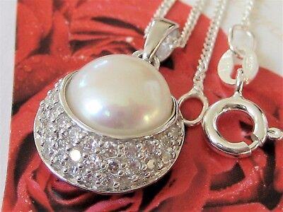 Perlen Collier 925 Sterling Silber Zirkon Anhänger Kette Sw. Zuchtperlen Natur