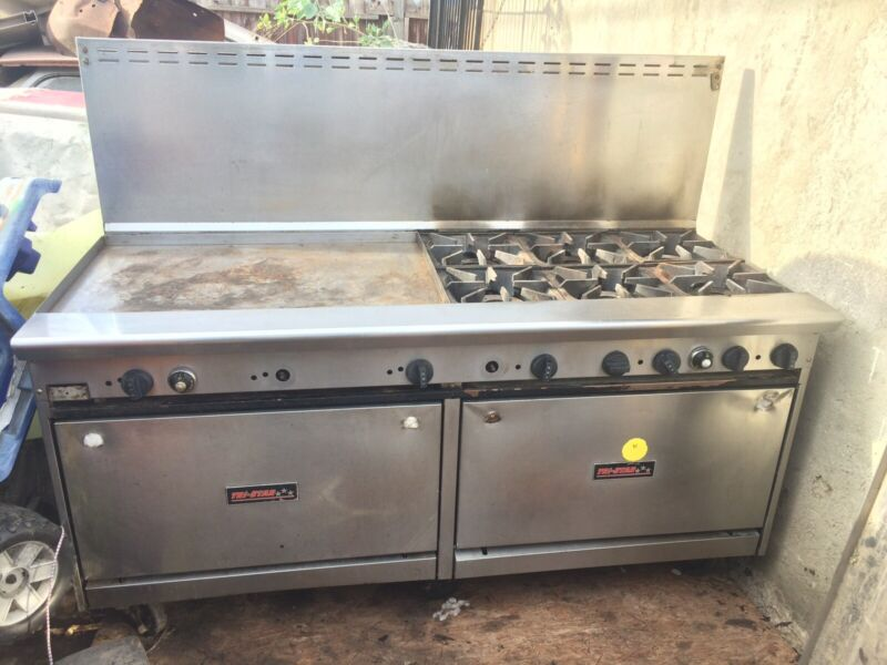 """Tri Star 72""""natural Gas Range 6 Burner With Griddle Stainless Steel"""